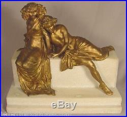 Rare Carl Kauba Ancien Art Nouveau Vienna Bronze & Marbre Sculpture Deux Lovers