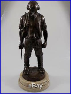 Rare Lourde Art Nouveau Bronze Sculpture Bauer Hongrie K. Nagy Marbre 20. JHD