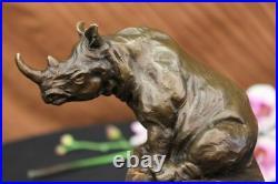 Rhinocéros Taureau Bronze Sculpture Art Déco Style Signé Original Milo Deal