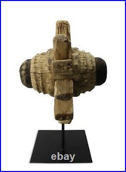 Roue Axe sur Support, Thaï Teck Bois Sculpture XL, 68cm de Hauteur Thailand