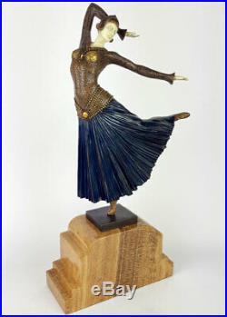 STATUE EN BRONZE 47cm SCULPTURE STYLE ART NOUVEAU CHRYSELEPHANTINE STATUETTE