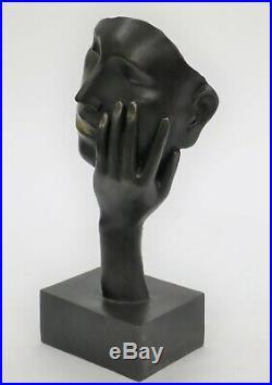 Salvador Dali Art Moderne au Repos Homme Bronze Buste Statue Sculpture Figurine