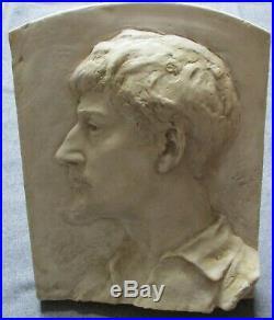 Sculpture A FINOT portrait bas relief du sculpteur Mathias Schiff Ecole de Nancy