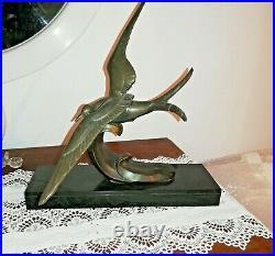 Sculpture Art Nouveau En Bronze Mouette Sur La Vague Signe Irénée Rochard