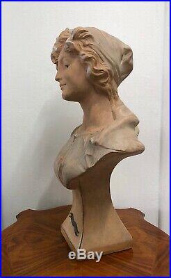 Sculpture Art Nouveau terre cuite Bohémienne par Le Guluche buste Bord De Mer