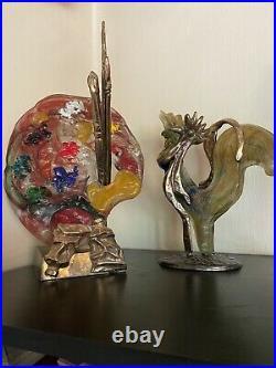 Sculpture Bronze Et Verre Signé Lohe
