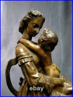 Sculpture Bronze, Mère à l'Enfant, Vers 1900, Signé Marotte