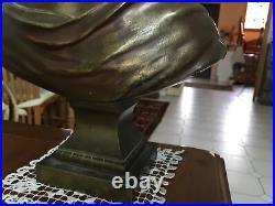 Sculpture, Bronze, buste femme, Art nouveau, Haut 35 Cm Environ