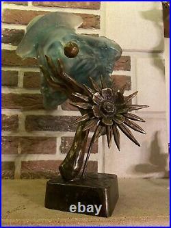 Sculpture Bronze et Pate de Verre Signe Lohe