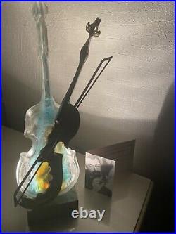 Sculpture Bronze et Pate de Verre Signe Lohe Certificat Violon Melopee