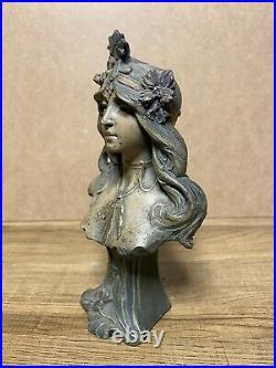 Sculpture Buste De Femme Couronne Terre Cuite Signé Alfred Foretay Art Nouveau