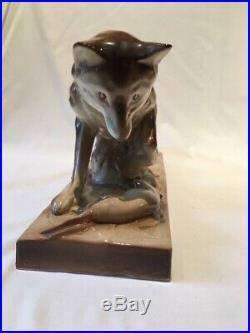 Sculpture De Renard En Saint Clement Signee Savioli art nouveau art deco ancien