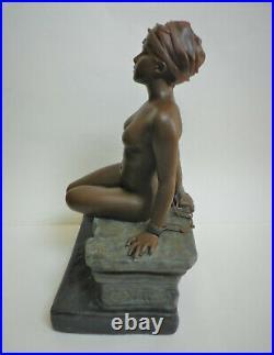 Sculpture Emanuel Villanis Captive femme nue enchainée époque Art Nouveau