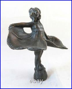 Sculpture En Bronze Antique Ballerine Art Nouveau Papillon Petite Statue BM30