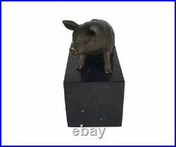 Sculpture En Bronze Statue Animalier Zoo Cochon Socle En Marbre Art Déco H 16 cm