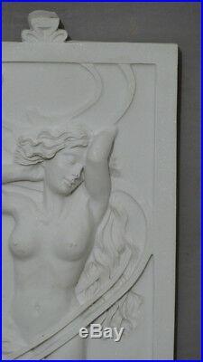 Sculpture, Plaque En Marbre Reconstitué, Femme Art Nouveau