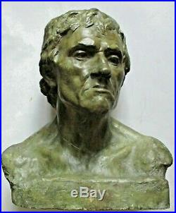 Sculpture STATUE BUSTE D' HOMME XIXe signé et daté 1896 épreuve d'artiste