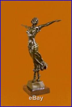 Sculpture Statue Fille Nue Art Nouveau 100% Solide Bronze Signée Cadeau Figurine