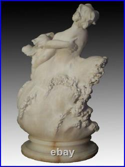 Sculpture albâtre la vague Art-Nouveau 1900