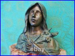 Sculpture ancienne buste sur table Madone Art Nouveau France Antique sculpture b