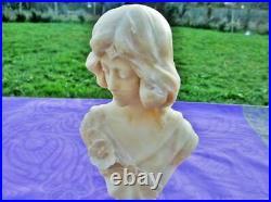 Sculpture ancienne buste sur table en albatre Art Nouveau France Old bust sculpt