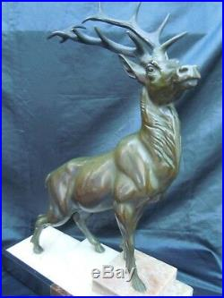 Sculpture bronze animalier cerf bronze décor chasse d'époque Art Nouveau