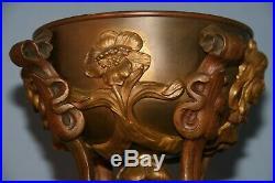 Sculpture bronze art nouveau 1900 ornementation coupe pied de lampe fin XIX ème