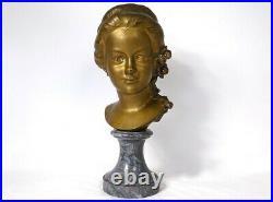 Sculpture buste bronze doré jeune fille Gromella marbre Art Nouveau XIXème