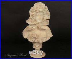 Sculpture buste jeune fille albatre Cipriani Art Nouveau 19e