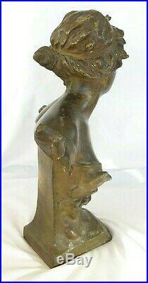 Sculpture de RIGUAL, régule, buste élégante, Art Nouveau