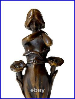 Sculpture en Bronze Femme Fleurs de Bignones Art Nouveau Jugendstil Époque XXème