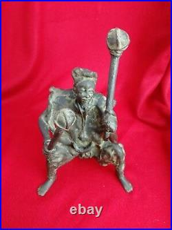 Sculpture en Bronze, Musicien Africain avec son Xylophone Ancien