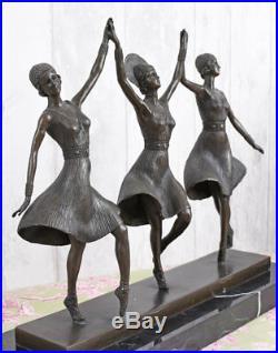 Sculpture en Bronze Trois Grazien Figure de Art Déco Chiparus 9kg Féminine