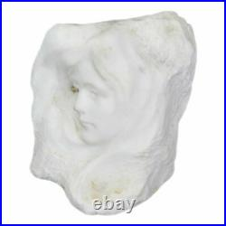 Sculpture en albâtre représentant un visage de jeune fille Art nouveau