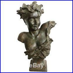 Sculpture en bronze Art Nouveau buste d'une jeune fille