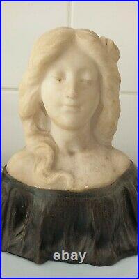 Sculpture en marbre et bronze G. VERONA Art Nouveau Déco marble original
