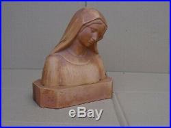Sculpture en terre cuite buste Vierge Marie signé D. DANIEL Art Nouveau