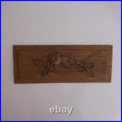 Sculpture gravure sur bois fait main vintage art nouveau déco PN France N2893