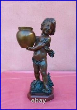 Sculpture jeune garçon EN REGULE SOCLE MARBRE par A. J. SCOTTE