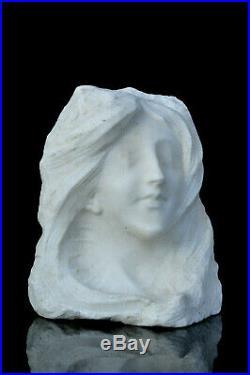 Sculpture marbre blanc Aimé Morot 1900 Art Nouveau statue Jugendstil woman