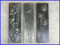 Sculpture plaques murales style art nouveau chardons metal repoussé design 70