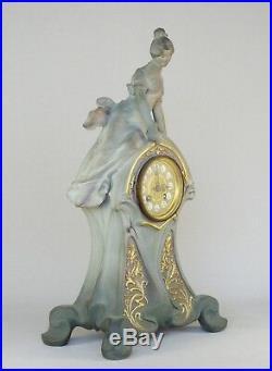 Sculpture statue pendule Art nouveau femme céramique de Charenton