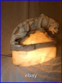 Sculpture veilleuse panthère albâtre veiné Art Nouveau attribué à P. RUGGERI