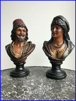 Sculptures de Fritz Kochendörfer (1871-1942) Art Nouveau 2 bustes orientalistes