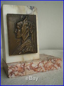 Serre Livres Alsace Marbre Bronze Patine Strasbourg Medaille Sculpture Ancien