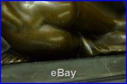 Signé Aldo Vitaleh Italien Artiste Bronze Statue Nu Girl Bronze Sculpture Art