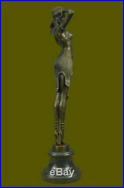 Signé Art Déco Chiparus Danse Du Ventre Marbre Deal Bronze Sculpture Statue
