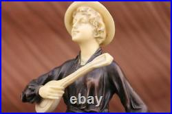 Signé Art Nouveau Beau Guitare Lecteur Bronze Et OS Sculpture Chaud Fonte
