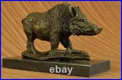 Signé Barye Sanglier Sauvage Cochon Bronze Sculpture Figurine Art Déco Home Gift