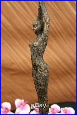 Signé Bronze Art Nouveau Déco Chiparus Statue Figurine Sculpture Art Figurine
